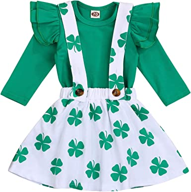 Baby Girls St Patricks Day Outfits Infant Ruffle Romper+Suspender Clover Skirt+Headband Clothes Set