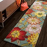 23 x 8 Color Flower Aqua Runner Rug, Polyester Floral Water Bright Colorful Elegant HIppy HIppie Groovy Daisy Warmth Cool Pretty Rectangular Rectangle Accent Carpet