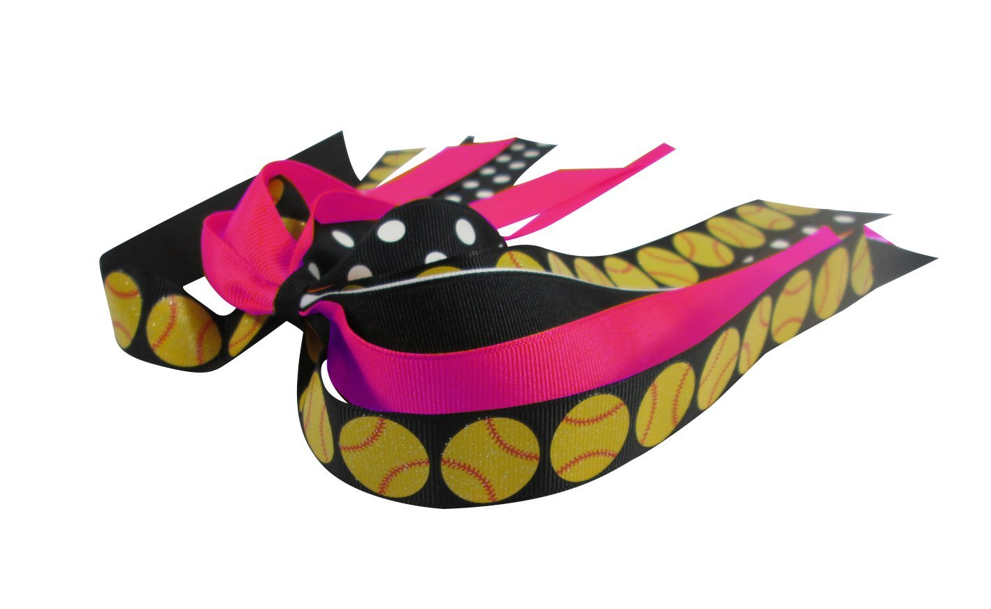 Hot Pink or Any Colors Softball Ponytail Bow - Handmade- for Girls, Choose any Ribbons Holder, Team School