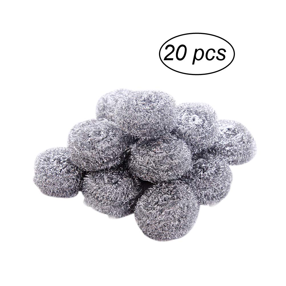 OUNONA 20pcs Stainless Steel Sponges Scrubbers Utensil scrubber Cleaning Spiral Scourers Practical Kitchen Cleaner