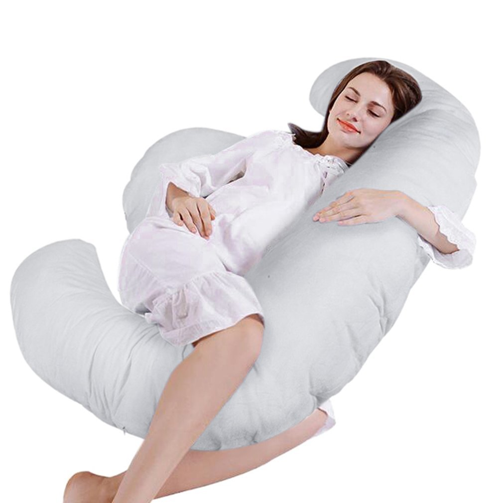 Nexttechnology Pregnancy Pillow Home Sleeping Comfortable Maternity Pillow for Pregnant Women (E Shaped White)