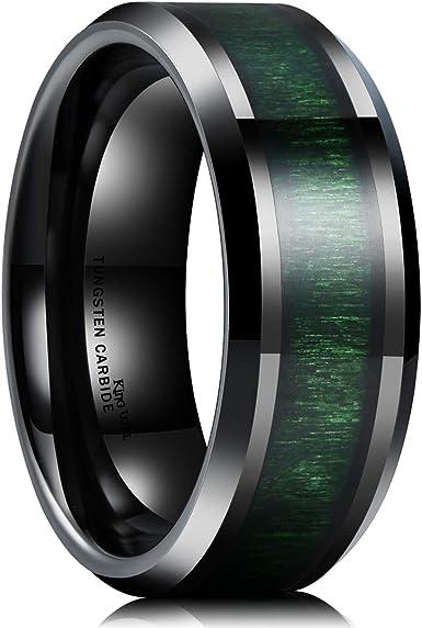 Green Rings Green Wedding Bands Green Tungsten Wedding Bands Green Tungsten Rings I Love You I Know Rings Black Tungsten Wedding Rings