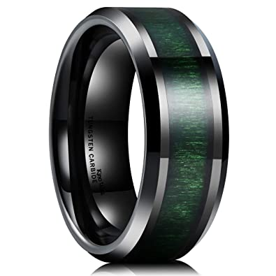 King Will Nature 8mm Mens Black Tungsten Carbide Wedding Ring Green