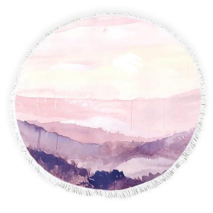 Yun Nist Toallas de playa redondas con borlas acuarela abstracto sol paisaje montañas arte flecos círculo