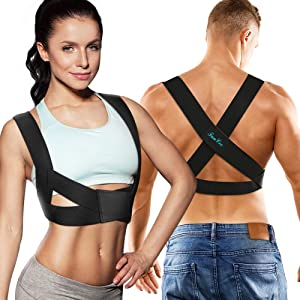 FunCee Posture Corrector for Men & Women, Adjustable Upper Back Brace Back Straightener provide Support&Pain Relief for Neck Shoulder Clavicle Chest Lumbar Skin-friendly for Work Sport Office (Small)