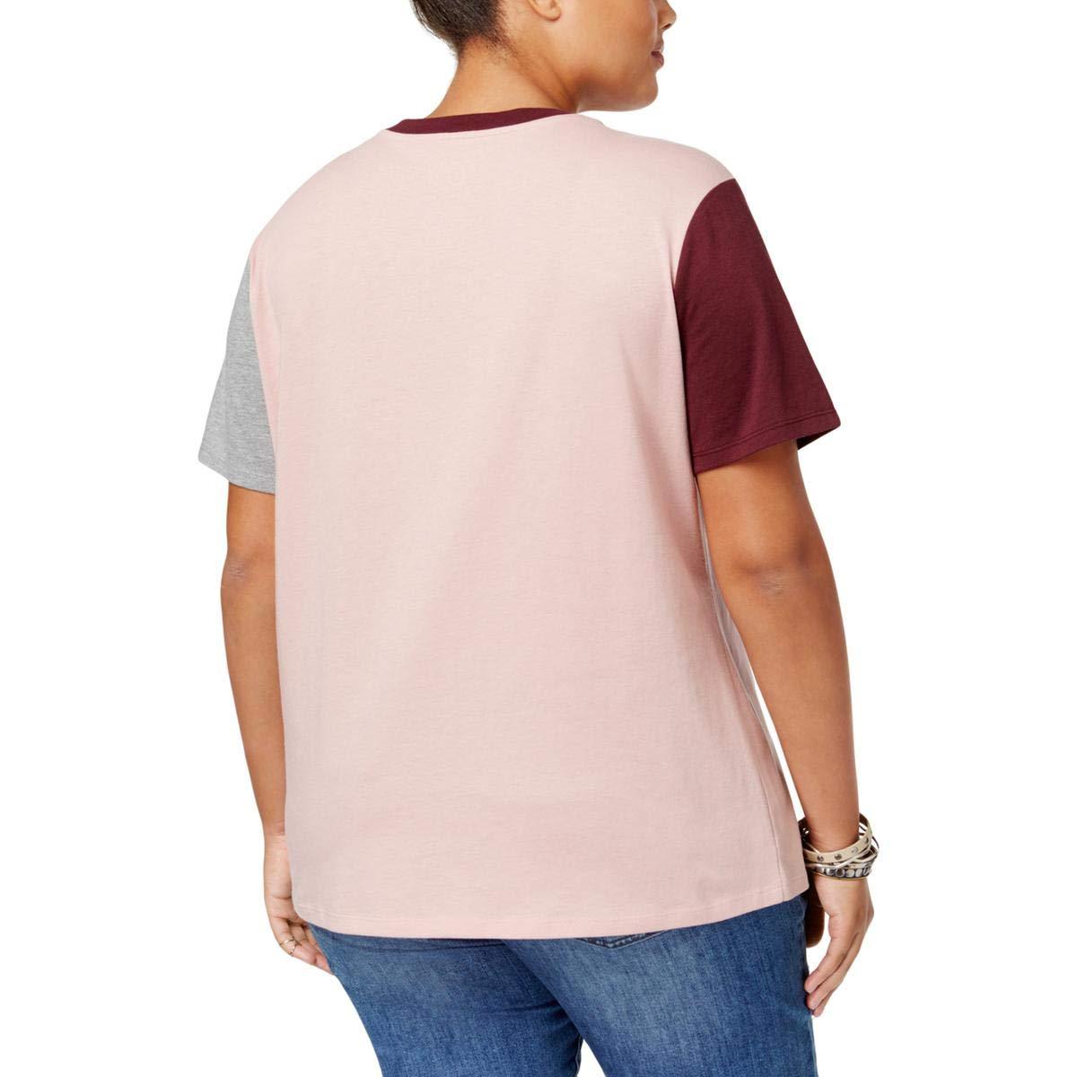 Hybrid Trendy Plus Size Colorblocked Graphic T-Shirt