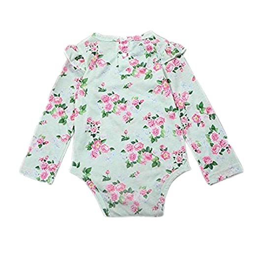 335deb9df2e7 Amazon.com  Lurryly Baby Girls Floral Romper Long Sleeves Jumpsuit Clothes  Bodysuit Pajamas Outfit  Clothing