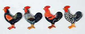 Hand Painted Assorted Rooster Bird Refrigerator Magnet (Set of 4)