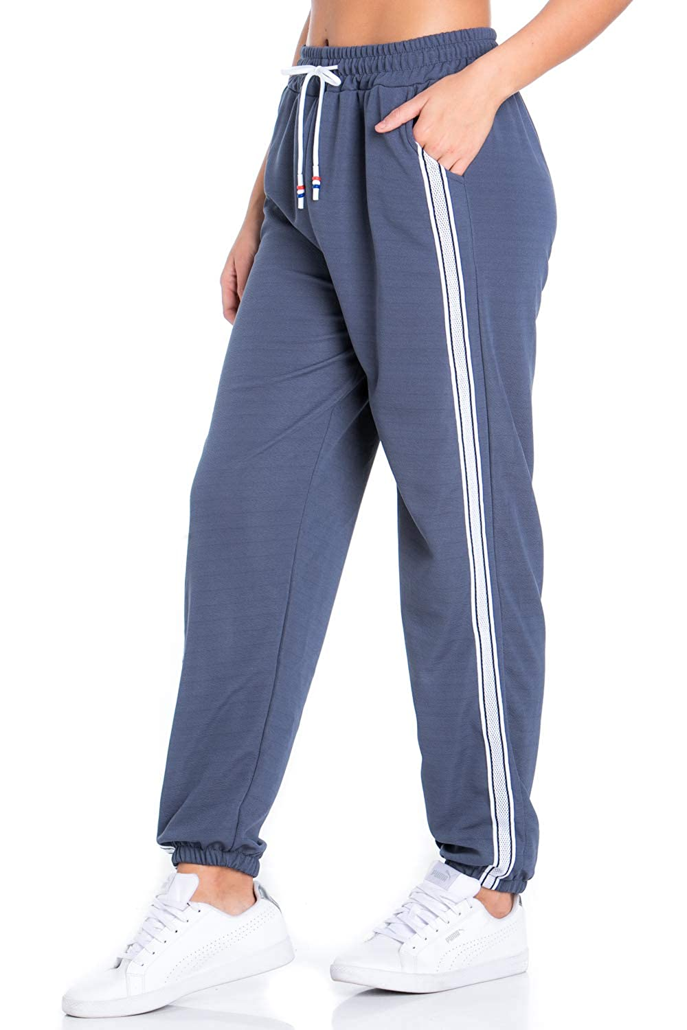 bluee Grey9814 My Yuccie Women's Super Soft Comfy Print Jogger Pants with Zipper Side Pockets (S  XL)