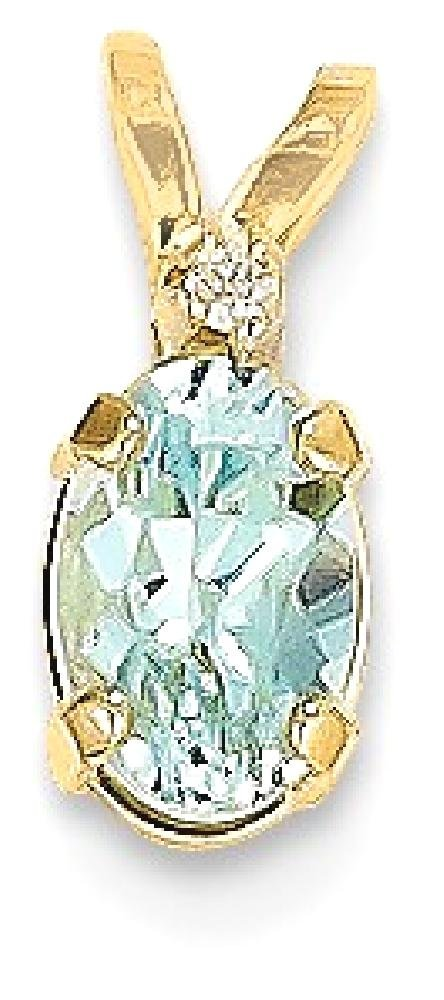 ICE CARATS 14k Yellow Gold Diamond Blue Aquamarine Birthstone Pendant Charm Necklace March Oval Fine Jewelry Gift Set For Women Heart