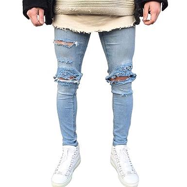 70bac76978d8 GreatestPAK Skinny Jeans Herren Stretchy Ripped Hose Destroyed Taped Slim  Fit Denim Hosen