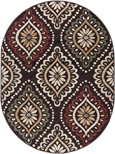Modesto Transitional Medallion Brown Oval Area Rug, 5 x 7 Oval
