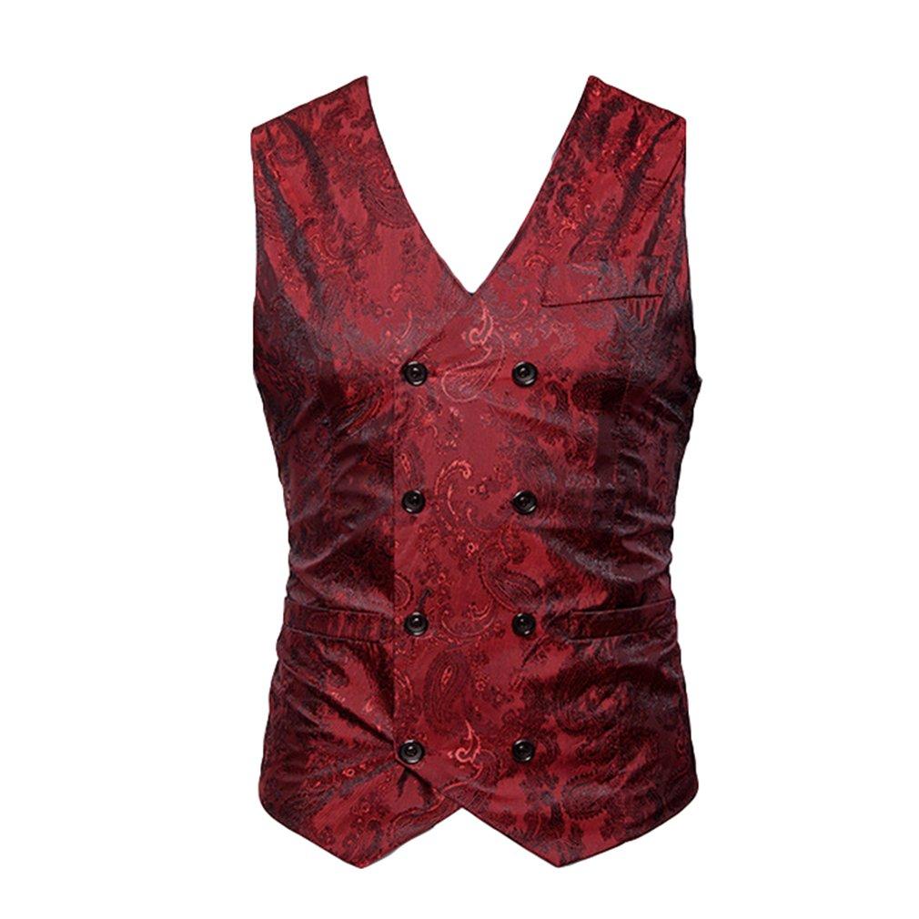 Mxssi Hombres Blazer Chaleco Moda Casual Traje Chaleco Trabajo Hombres Outwear Escudo Solo Breasted Hombres Chaleco 68Nf1mro