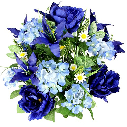 Admired By Nature Artificial Full Blooming Tiger Lily, Peony & Hydrangea with Green Foliage Mixed Bush for Home, Wedding, Restaurant & Office Decoration Arrangement, Blue, 24 ()