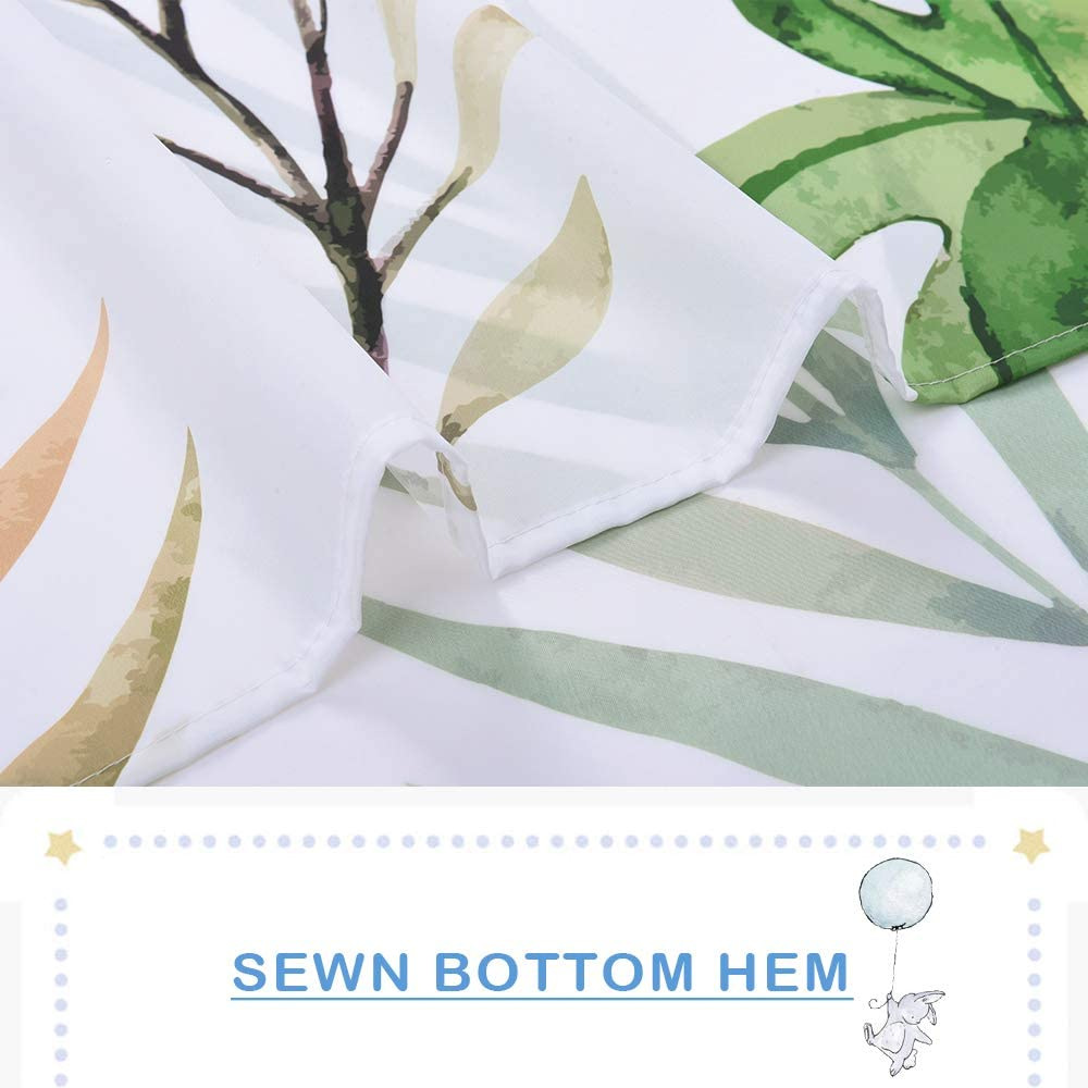 NICETOWN Plants Shower Curtain Botanical Bathroom Decorative Curtain Waterproof One Panel, 72 x 72 inch, Banana Leaves Spring Palm Leaves Printed on White Shower Curtain