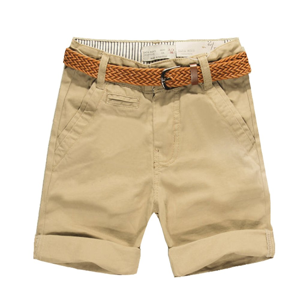 Budermmy Boys Cotton Short Solid Cargo Toddler Adjustable Waistband Shorts with Belt Khaki 5 Years