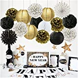 New Year Party Decoration Gold Polka Dot Tissue Paper Fans Black Gold White Tissue Paper Pom Poms Paper Flower Paper Lantern for Birthday Decorations Bridal Shower Decorations Wedding