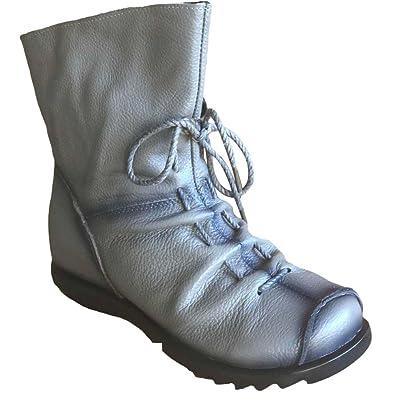 Eagsouni Damen Stiefeletten Handgefertigte Schnürsenkel Lederstiefel Flach Leder Stiefel mit Reißverschluss e8VYTu6vR