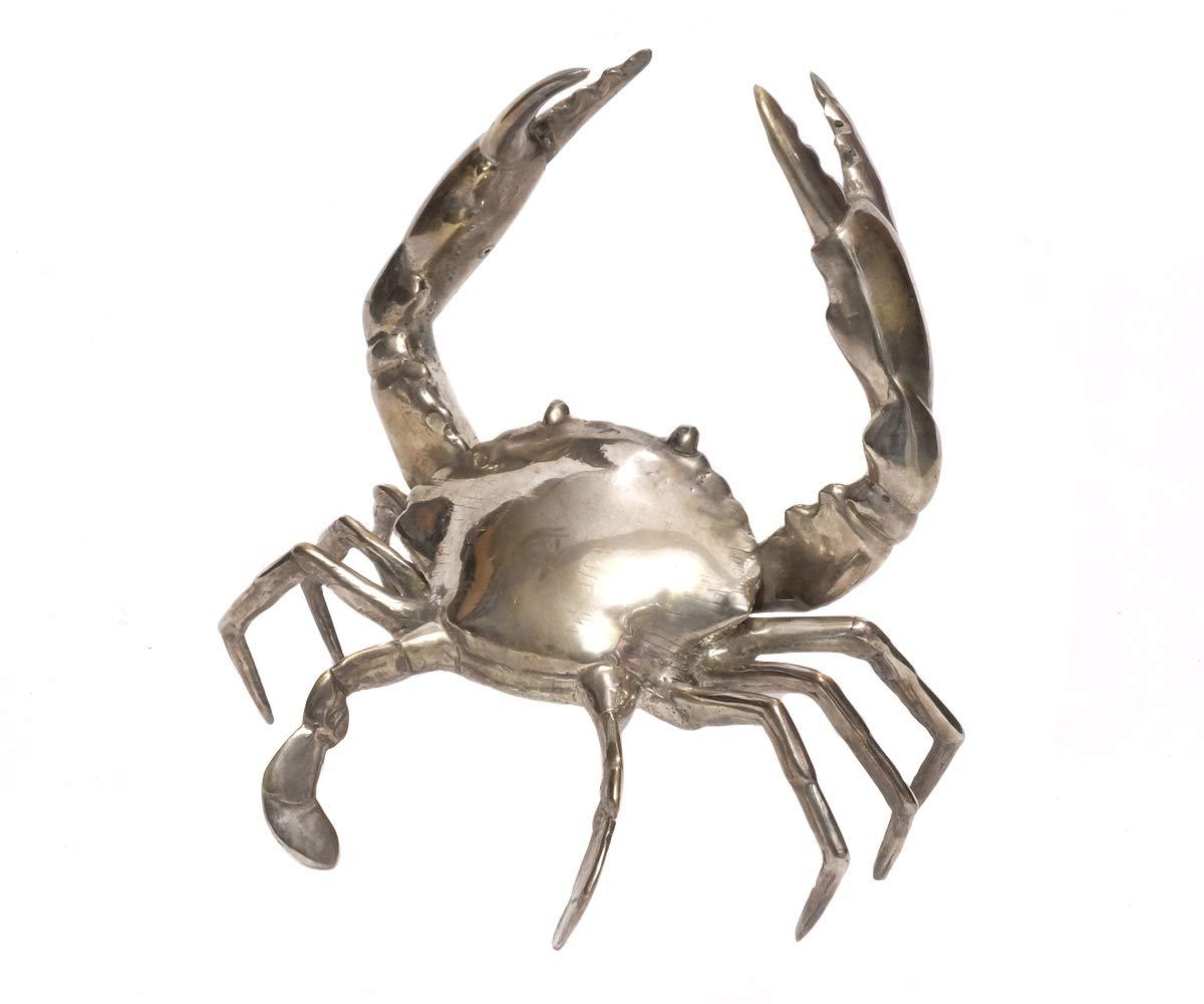 Brillibrum Design Krebs Aus Metall Versilbert Vintage-Stil Krabbe Silber Patina Meerestier (Krebs - Mittel mit offene Scheren)