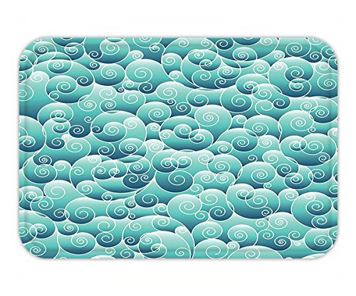Minicoso Doormat Teal Decor Collection Spirals Swirl Patterns Abstract Waves Wind Ornamental Decorating Artwork Print Teal Turquoise (Swirl Spiral Collection)