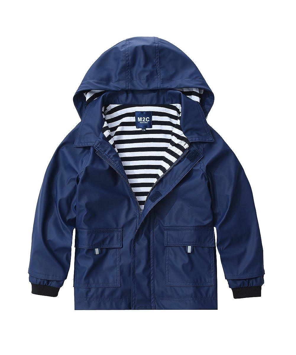 M2C Boys & Girls Hooded Waterproof Rain Jacket Windproof Cotton Lined Raincoats INJP26CAB