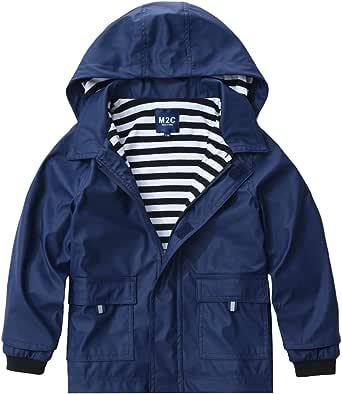 M2C Boys Girls Hooded Waterproof Rain Jacket Cotton Lined Windbreaker