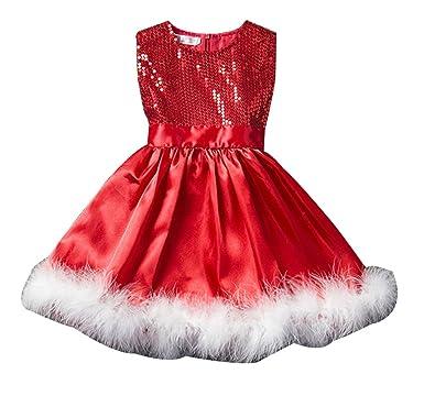 40c7fa0b055 Fille Robes pour Noël Rouge Paillette Tutu Fête de Noël Sans Manches Robe  de Cocktail 90cm