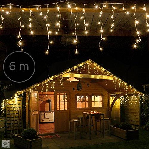6 m Eisregen Lichterkette mit 240 LED warmweiß für aussen und innen