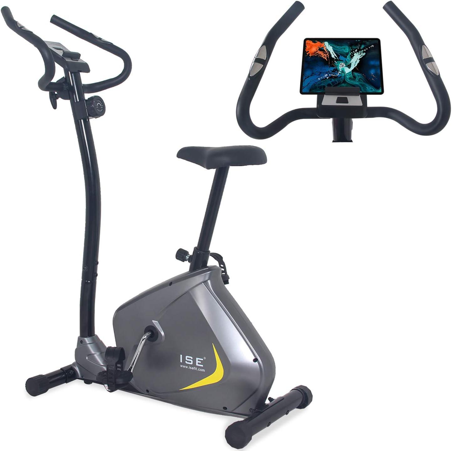 ISE Bicicleta Estática Magnético con Sensor de Pulso, 8 Niveles de Resistencia, Ejercicio Aerobico Indoor para Oficina/Hogar
