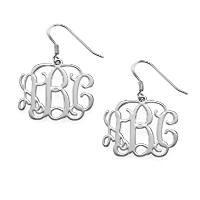 earrings sterling monogram personalized silver block