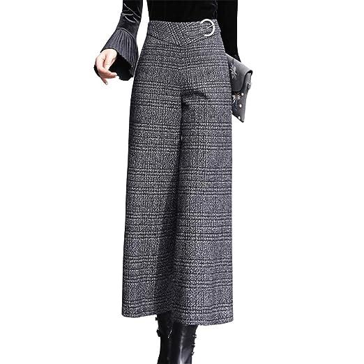 105b9da328 maxsmarts Autumn/Winter Women Black White Plaid Wide Leg Pants Thick Zipper  Fly Office Lady