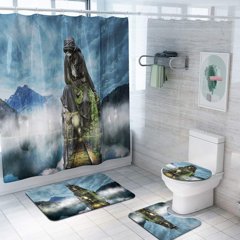 Z&S (Set of 4) Animated Landscape Shower Curtain + Carpet, Non-Slip Bathroom Mat Set,C