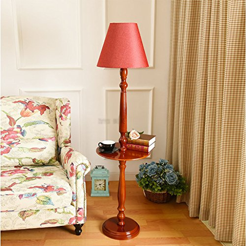Floor Lamp Mahogany Simple American Style Coffee Table European Pastoral Living Room Bedroom Retro Bedside Vertical Lamp (Color : #3)