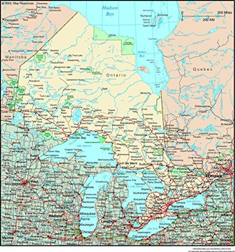 (Quality Prints - Laminated 24x25 Vibrant Durable Photo Poster - Resource Map - Ontario, Canada Political Wall Map)