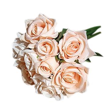 Beau Fantasy Closet 9 Pcs Artificial Flowers Rose Bouquet Gift Home Wedding  Bridal Decoration Garden Pale Pink
