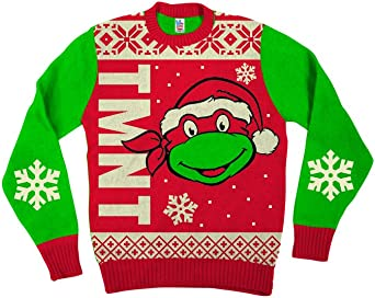 Teenage Mutant Ninja Turtles Big Turtle Face Adult Red Ugly Christmas Sweater