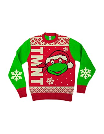 teenage mutant ninja turtles big turtle face red ugly christmas sweater adult x small
