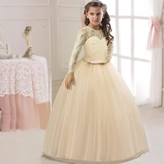 Amazon.com: OwlFay Flower Girl Dresses Long Sleeve Lace Ball Gown for Kids Prom Wedding Bridesmaid Maxi Tulle Graduation Party Dress 3-12: Clothing