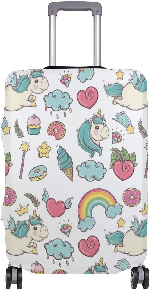 Rainbow Unicorn And Donut Travel Suitcase Protector Zipper Suitcase Cover Elastic