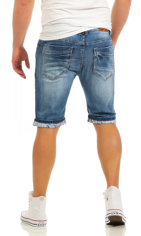 Fashion4Young Herren Bermuda Jeans Hose Denim Shorts Usedlook Freizeithose  Herrenbermudas Destroyed: Amazon.de: Bekleidung