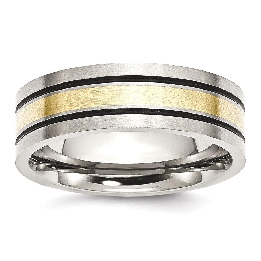 ICE CARATS Titanium 14k Yellow Inlay Flat 7mm Brushed Wedding Ring Band Size 9.50 Precious Metal Fine Jewelry Gift Set For Women Heart
