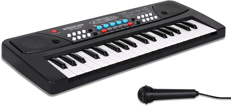 Teclado Piano Electronico 37 Teclas,Teclado de Piano con Micrófono Mini Teclado Portátil Enseñanza Teclado Digital Juguete Educativo para Niña Chico ...