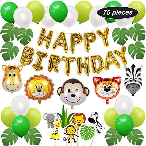 PartyBuzz Jungle Safari Theme Party Supplies - 75 Pack Birthday Decoration Kit - Happy Birthday Banner, Zoo Cupcake Toppers, Wild Animal Balloons - Monkey Giraffe Zebra Lion Tiger (Monkey Party Theme)