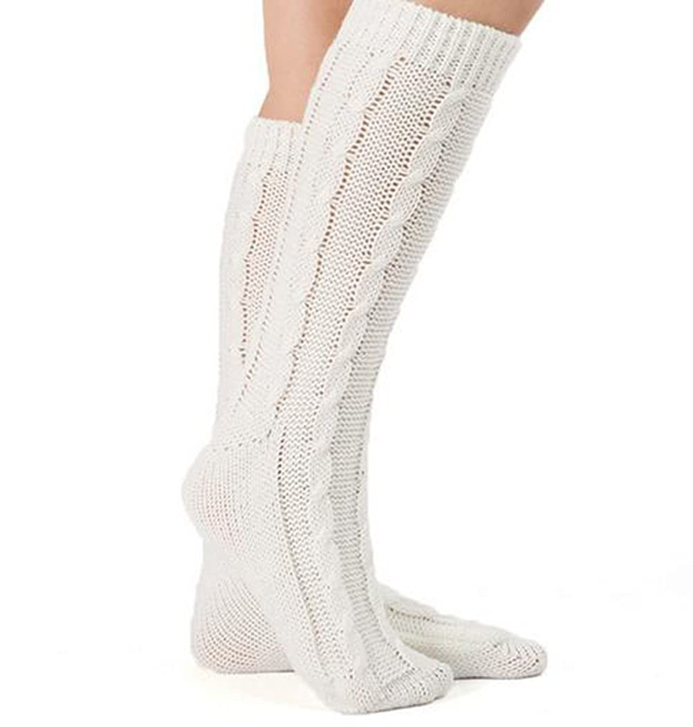 46d8818bb Women Knee High Leggings Crochet Knit Leg Warmers Long Boot Socks Winter  Stockings (Beige) at Amazon Women s Clothing store