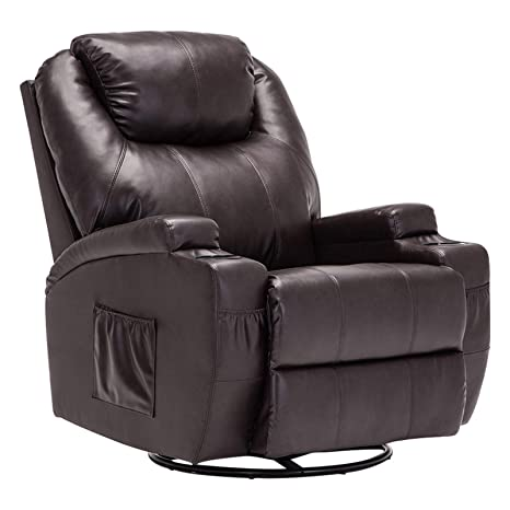Mecor Massage Recliner Chair PU Leather Recliner Chair with Heat Rocker Recliner with 360 Degree Swivel/Cup Holders/Remote Control for Living Room ...