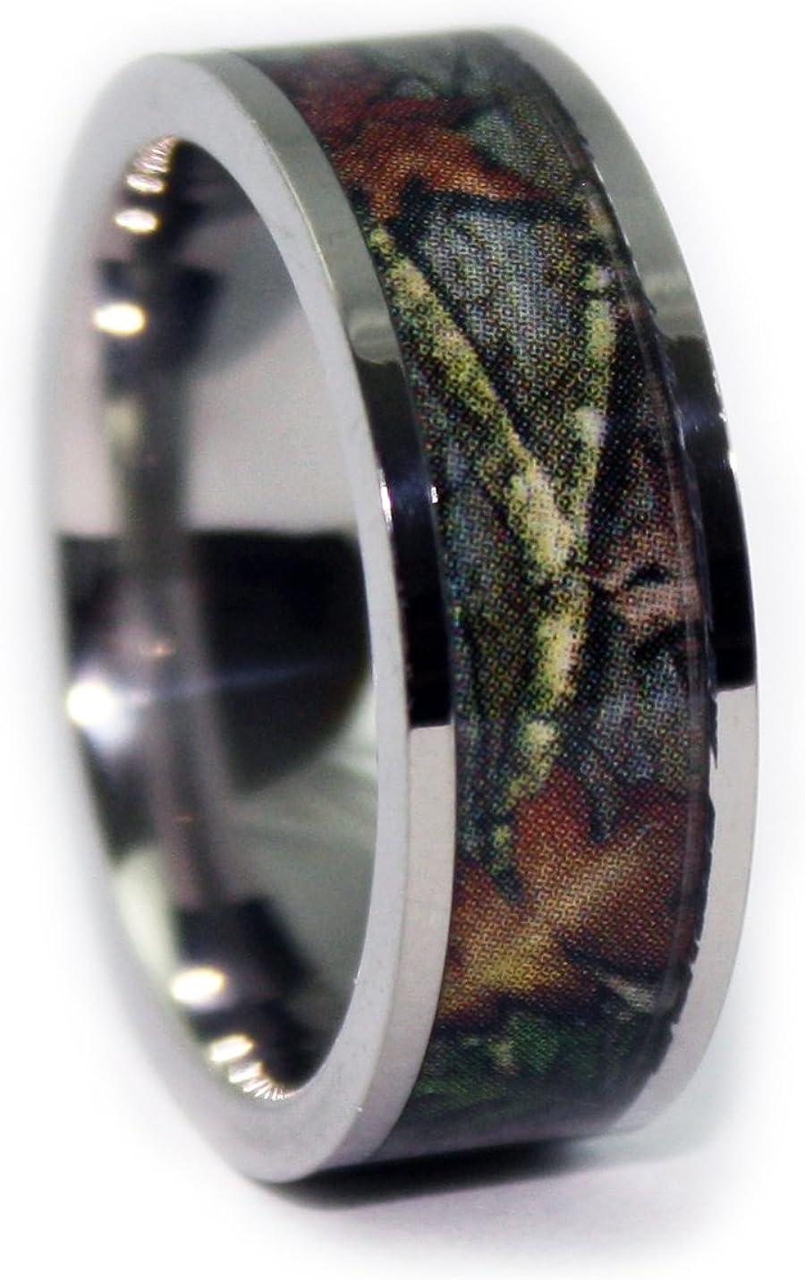 Amazon Com Camo Wedding Rings By 1 Camo Camo Engagement Rings Flat Titanium Jewelry