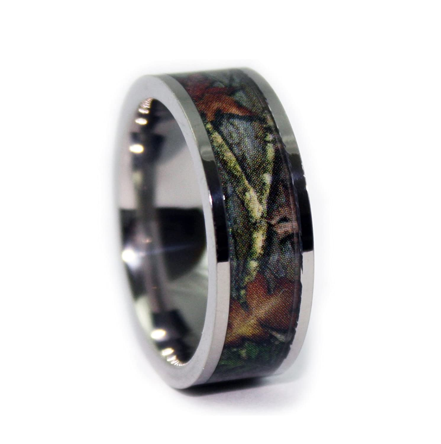 amazoncom camo wedding rings by 1 camo camo engagement rings flat titanium jewelry - Flat Wedding Rings