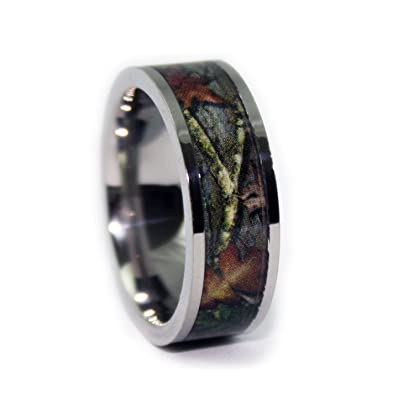 1 camo flat titanium rings camouflage engagement wedding band ring size 6 - Camo Wedding Rings For Him