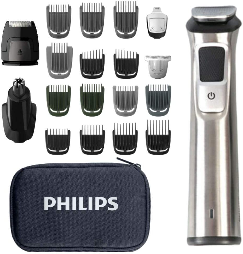Philips Norelco Multigroom Men's Beard Grooming Kit with Trimmer for Head Body, Face -Stainless Steel with Travel Case