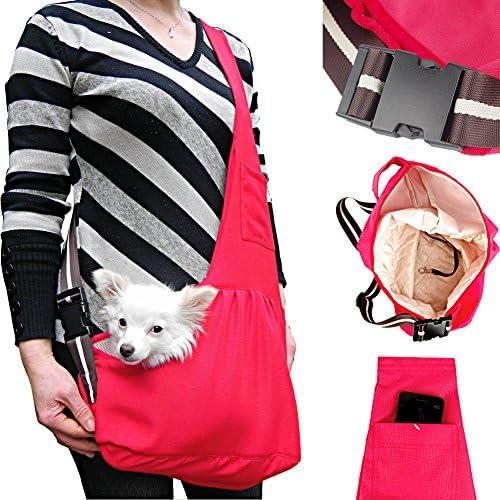 kiwitat Hands-Free Pet Sling Carrier Bag Adjustable Small Dog Cat Single Shoulder Bag Waterproof Oxford Cloth Outdoor Pet Carriers Tote for Puppy Carrier Travel Bag